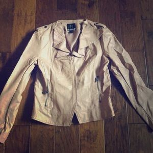 Rose colored Faux Leather Jacket